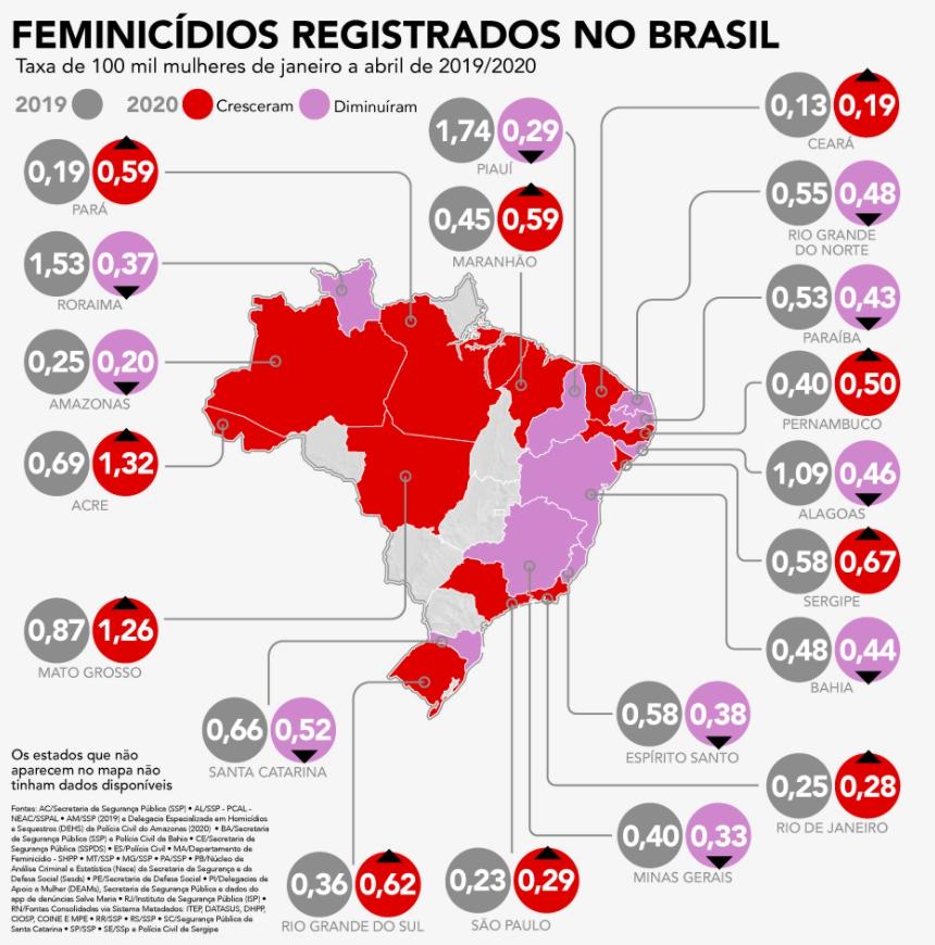 Feminicídio no Brasil por Estado